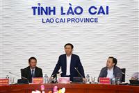 Phó Thủ tướng Vương Đình Huệ làm việc với lãnh đạo chủ chốt của tỉnh Lào Cai. Ảnh: VGP/Thành Chung