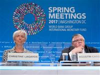 Tổng giám đốc IMF Christine Lagarde ( trái) tại Hội nghị Mùa Xuân của IMF và WB ở Washington, DC ngày 22/4. (Nguồn: AFP/TTXVN)