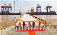 Quang cảnh lễ chính thức đưa dự án cảng Nam Đình Vũ (giai đoạn 1) vào khai thác. (Ảnh: An Đăng/TTXVN)
