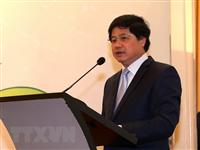 Thứ trưởng Bộ Nông nghiệp và Phát triển nông thôn Lê Quốc Doanh phát biểu khai mạc. (Ảnh: Vũ Sinh/TTXVN)
