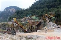 Công trường khai thác đá của Công ty Khai thác đá vôi Yabashi Việt Nam. (Nguồn: nghean)